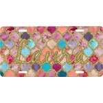 Glitter Moroccan Watercolor Front License Plate (Personalized)