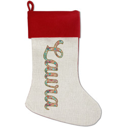 Glitter Moroccan Watercolor Red Linen Stocking