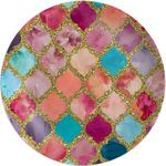 """Glitter Moroccan Watercolor Melamine Plate - 8"""" (Personalized)"""