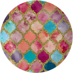"Glitter Moroccan Watercolor Melamine Plate - 8"" (Personalized)"