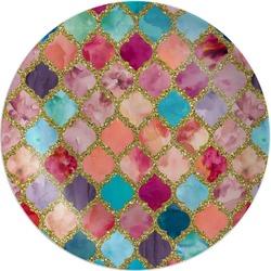 Glitter Moroccan Watercolor Melamine Plate (Personalized)