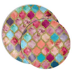 Glitter Moroccan Watercolor Melamine Plate