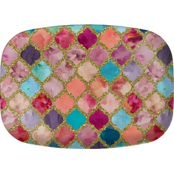 Glitter Moroccan Watercolor Melamine Platter (Personalized)