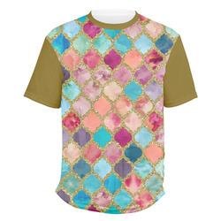 Glitter Moroccan Watercolor Men's Crew T-Shirt (Personalized)