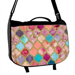 Glitter Moroccan Watercolor Messenger Bag (Personalized)