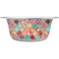 Glitter Moroccan Watercolor Stainless Steel Dog Bowl