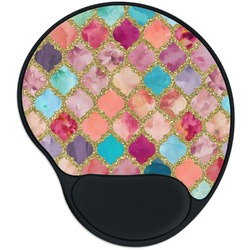 Glitter Moroccan Watercolor Mouse Pad with Wrist Support