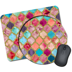 Glitter Moroccan Watercolor Mouse Pads