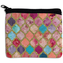 Glitter Moroccan Watercolor Rectangular Coin Purse
