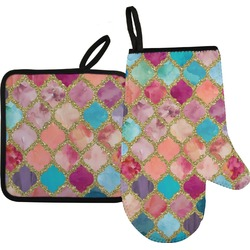 Glitter Moroccan Watercolor Oven Mitt & Pot Holder (Personalized)
