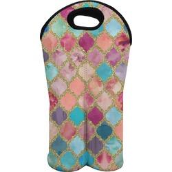 Glitter Moroccan Watercolor Wine Tote Bag (2 Bottles) (Personalized)