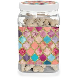 Glitter Moroccan Watercolor Pet Treat Jar (Personalized)