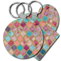 Glitter Moroccan Watercolor Plastic Keychains