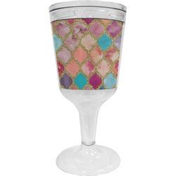 Glitter Moroccan Watercolor Wine Tumbler - 11 oz Plastic (Personalized)