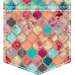 Glitter Moroccan Watercolor Iron On Faux Pocket