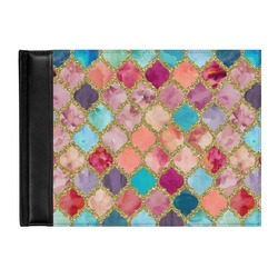 Glitter Moroccan Watercolor Genuine Leather Guest Book (Personalized)