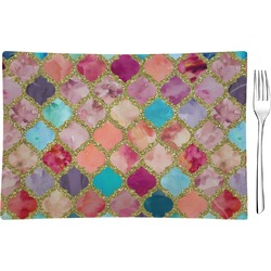 Glitter Moroccan Watercolor Glass Rectangular Appetizer / Dessert Plate - Single or Set (Personalized)