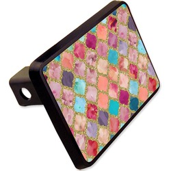 "Glitter Moroccan Watercolor Rectangular Trailer Hitch Cover - 2"" (Personalized)"