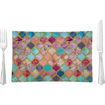 Glitter Moroccan Watercolor Rectangular Glass Lunch / Dinner Plate - Single or Set