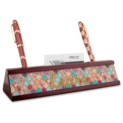 Glitter Moroccan Watercolor Red Mahogany Nameplate with Business Card Holder (Personalized)