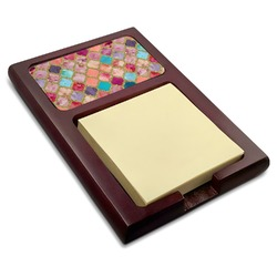 Glitter Moroccan Watercolor Red Mahogany Sticky Note Holder (Personalized)