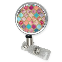 Glitter Moroccan Watercolor Retractable Badge Reel (Personalized)