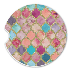 Glitter Moroccan Watercolor Sandstone Car Coaster - Single (Personalized)