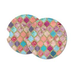 Glitter Moroccan Watercolor Sandstone Car Coasters