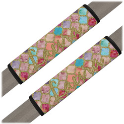 Glitter Moroccan Watercolor Seat Belt Covers (Set of 2) (Personalized)