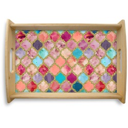 Glitter Moroccan Watercolor Natural Wooden Tray - Small (Personalized)