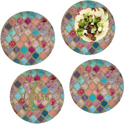 """Glitter Moroccan Watercolor Set of 4 Glass Lunch / Dinner Plate 10"""""""