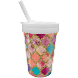 Glitter Moroccan Watercolor Sippy Cup with Straw (Personalized)