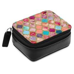 Glitter Moroccan Watercolor Small Leatherette Travel Pill Case (Personalized)