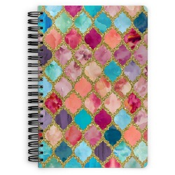 Glitter Moroccan Watercolor Spiral Bound Notebook (Personalized)