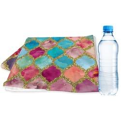 Glitter Moroccan Watercolor Sports Towel (Personalized)
