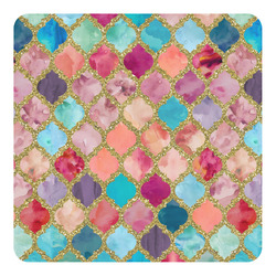 Glitter Moroccan Watercolor Square Decal - Medium (Personalized)