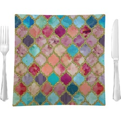 "Glitter Moroccan Watercolor Glass Square Lunch / Dinner Plate 9.5"" - Single or Set of 4 (Personalized)"