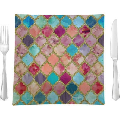 """Glitter Moroccan Watercolor 9.5"""" Glass Square Lunch / Dinner Plate- Single or Set of 4"""
