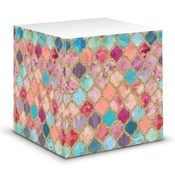 Glitter Moroccan Watercolor Sticky Note Cube (Personalized)