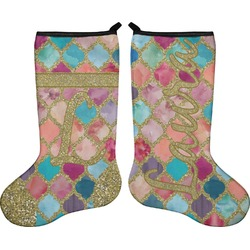 Glitter Moroccan Watercolor Holiday Stocking - Double-Sided - Neoprene