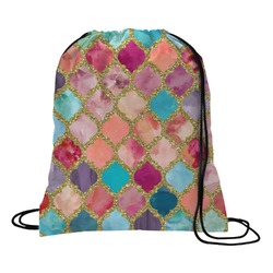 Glitter Moroccan Watercolor Drawstring Backpack