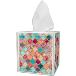 Glitter Moroccan Watercolor Tissue Box Cover