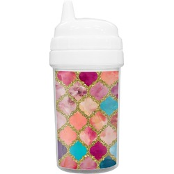 Glitter Moroccan Watercolor Sippy Cup (Personalized)