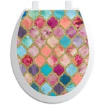 Glitter Moroccan Watercolor Toilet Seat Decal (Personalized)