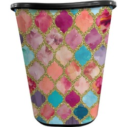 Glitter Moroccan Watercolor Waste Basket - Double Sided (Black) (Personalized)