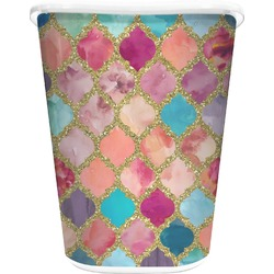 Glitter Moroccan Watercolor Waste Basket - Double Sided (White) (Personalized)