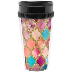 Glitter Moroccan Watercolor Travel Mugs (Personalized)
