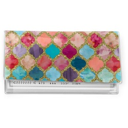 Glitter Moroccan Watercolor Vinyl Checkbook Cover (Personalized)