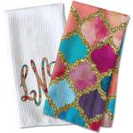 Glitter Moroccan Watercolor Waffle Weave Kitchen Towel
