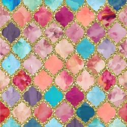 """Glitter Moroccan Watercolor Wallpaper & Surface Covering (Peel & Stick 24""""x 24"""" Sample)"""